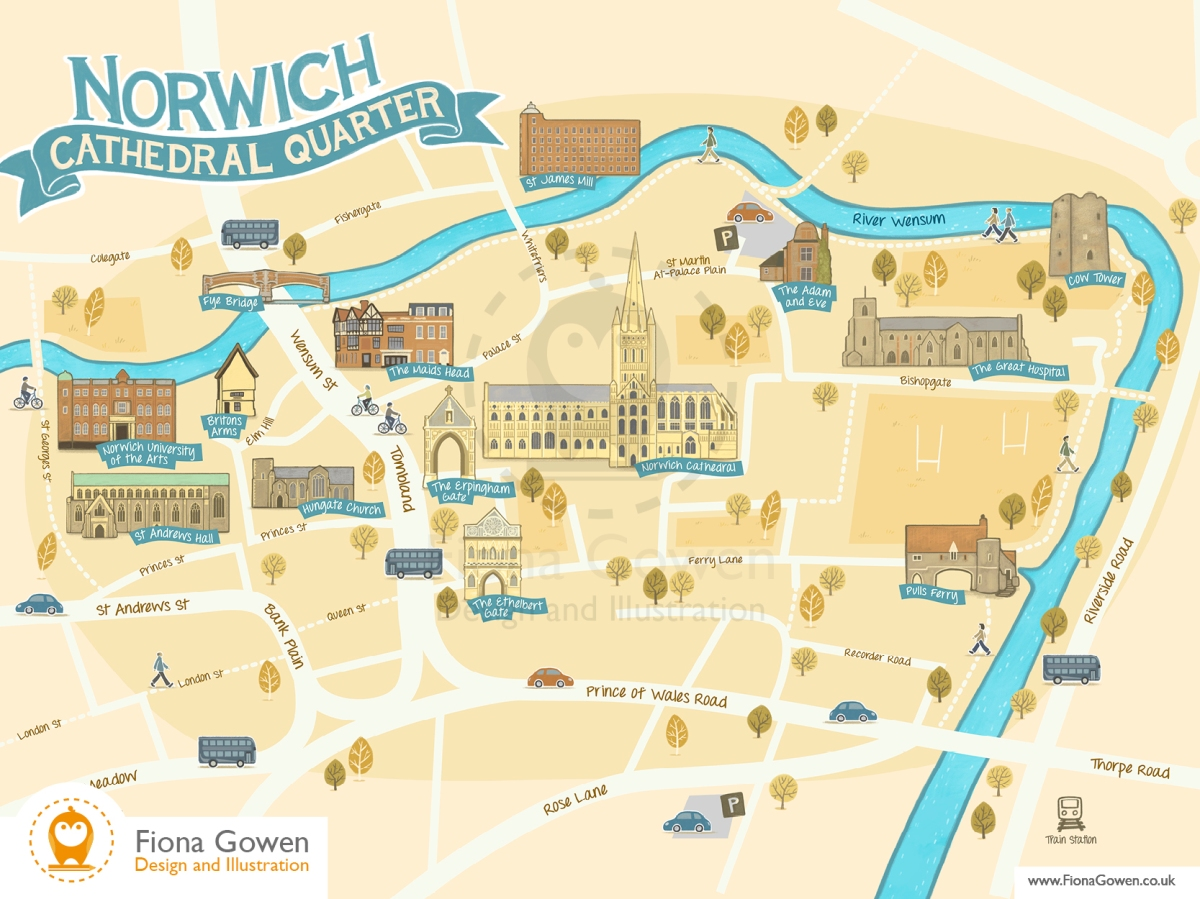 Illustrating a new map for Norwich Cathedral Quarter