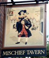 Old Mischief pub sign after Hogarth's painting (norfolkpubs.co.uk)